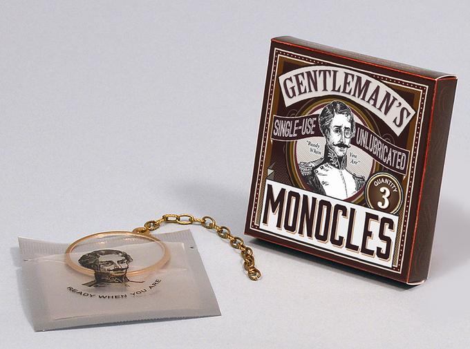 Gentleman's single-use unlubricated monocles - photo taken from Kickstarter